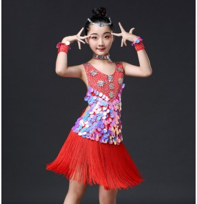 Girls kids competition professional latin dance dresses red sequins rhinestones rumba chacha latin performance skirts dress