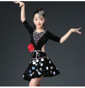 Girls latin dance dresses black rhinestones sequins kids children stage performance rumba salsa chacha dance skirts dress
