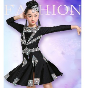 Girls competition latin dance dresses kids children black rhinestones professional salsa chacha latin dance costumes dress