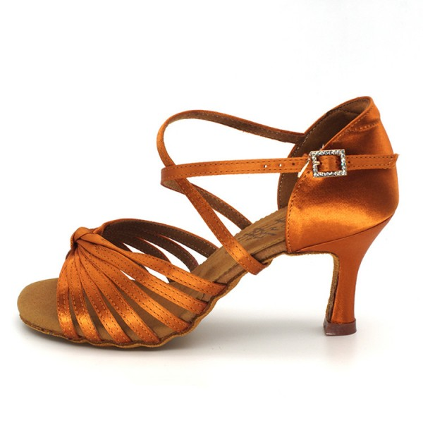 5cd4d3e72 Women's ballroom latin competition dance shoes stage performance  professional bronze colored salsa chacha rumba dance sandals shoes