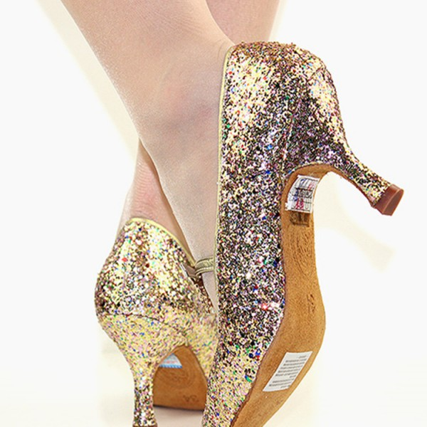 42fdada3d Women's gold rainbow sequin ballroom latin competition dance shoes soft cow  leather sole stage performance rumba chacha flamenco dance shoes