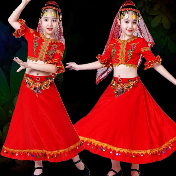 59bbf90eb kids chinese folk dance costumes xinjiang Uighur minority indian belly  dance dress stage performance drama cosplay dress