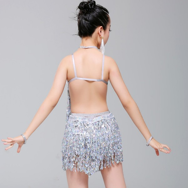 5e732dd3e Girls silver sequin fringes latin dance dresses kids children school  competition stage performance salsa rumba chacha dance dresses costumes