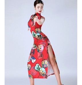Women's printed latin dance cheongsam dresses female professional samba stage performance rumba salsa chacha dance skirts dress costumes