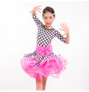 Girls latin dance dresses kids children pink with plaid competition stage performance salsa chacha samba dance dresses skirts