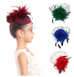 Girls kids children stage performance wool pillbox hats evening party show top hat hair accessories headdress