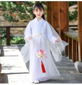 Girls kids chinese folk dance costumes Tang empress dresses blue pink white yellow colored children hanfu princess fairy drama cosplay dresses