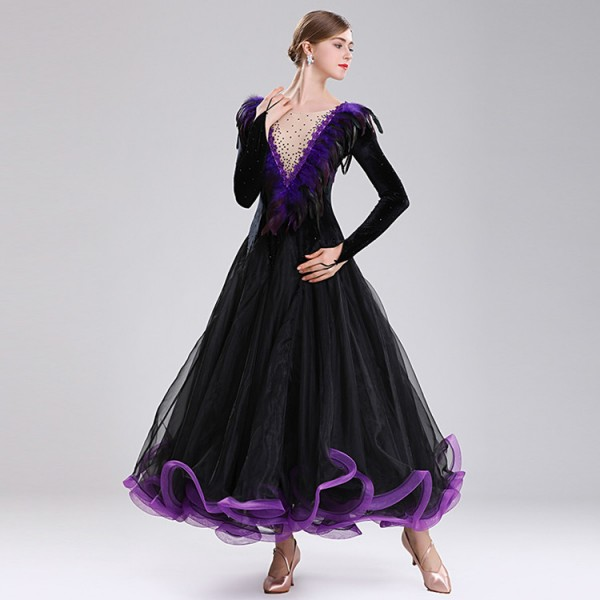 0b05a923c789c Women's ballroom dancing dresses black with purple feather professional waltz  tango flamenco dancing dresses