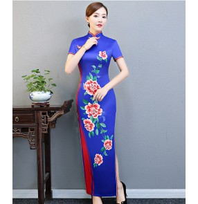 Traditional women's Chinese Qipao dresses embroidered satin cheongsam dress for female evening party chorus drama cosplay stage performance dresses