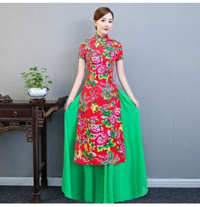 Women's chinese dresses traditional Chinese qipao dresses printed vintage show model performance dress model cheongsam
