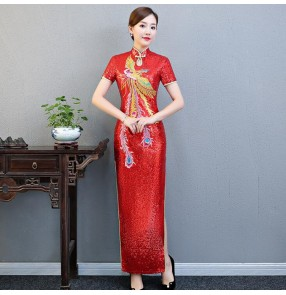 Chinese dresses traditional chinese qipao dresses red sequin wih phoenix pattern miss etiquette car model stage performance cheongsam dresses