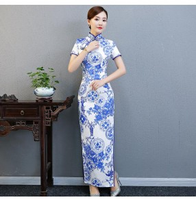women's White and blue printed chinese dresses Traditional oriental Chinese qipao dresses cheongsame skirt