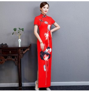 Women's chinese dresses traditional chinese qipao dresses stage performance model show miss etiquette dress