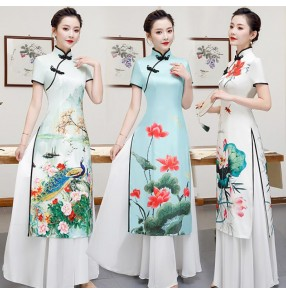 Women's chinese dresses traditional chinese lotus printed oriental style Qipao dresses cheongsam stage performance dresses