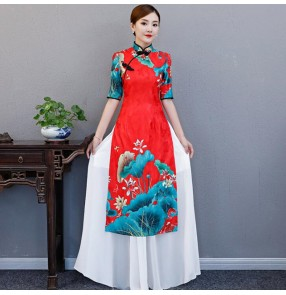 Qipao dresses Chinese dresses red printed dragon style oriental women's evening party host miss etiquette dresses