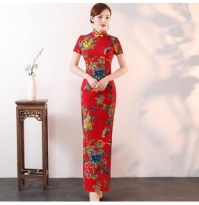 Women's chinese dresses flowers cheongsam trditional oriental retro vintage qipao dresses host model stage performance dresses