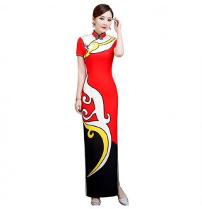 Printed chinese dresses cheongsam tradtiional chinese qipao dresses host singers performance evening party dresses