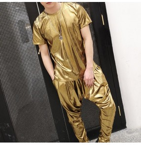 Men's gold glitter jazz dance costumes hiphop street night club dj pole dance singers group dancers performance tops and harem pants