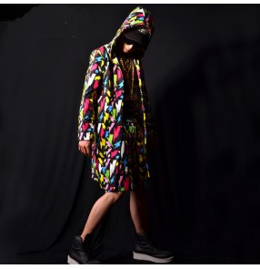 men's rainbow printed jazz dance long hoddies coats hiphop singers male stage sperformance model show long cloak only coat