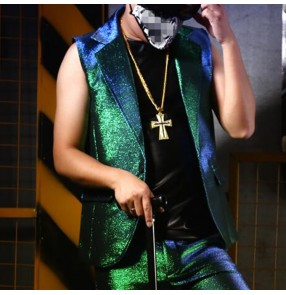 Green glitter men's modern jazz dance waistcoat model stage performance hiphop singers barber pole dance waistcoats vests