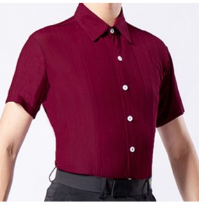 Wine red coffee colored men's latin dance shirts jive ballroom waltz tango stage performance modern dance samba chacha salsa dance tops