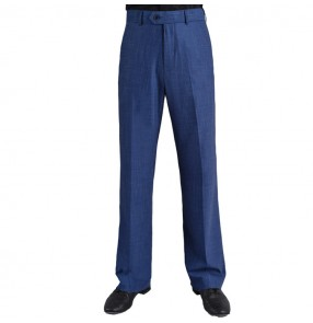 Men's blue black colored competition ballroom latin dance pants male professional stage performance samba salsa chacha trouers long pants