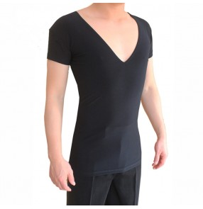 Men's black colored v neck short sleeves latin dance shirts stage performance ballroom waltz tango dance tops