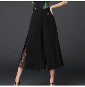 Women's black wide leg ballroom latin dance pants stage performance samba chacha salsa dance skirts trousers