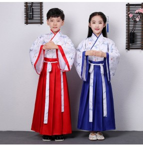 Girls boys hanfu chinese ancient traditional fairy drama cosplay dreses confucius school performance robes dresses