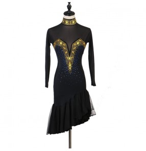Black with gold stones Women's competition latin dance dresses stage performance sala rumba chacha dance dress costumes