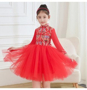Girls children chinese dresses kids qipao dresses chorus host stage performance princess dresses