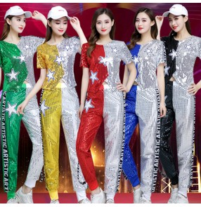 Women's silver gold blue sequins jazz dance costumes modern dance hiphop dance costumes cheer leaders night club bar singers dance tops and pants