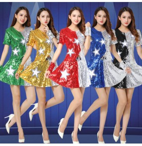 Women's girls gold silver red blue sequins jazz dance costumes cheerleaders costumes hiphop singers gogo dancers stage performance dresses