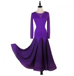 Women's purple ballroom dancing dresses waltz tango dance dresses flamenco dresses