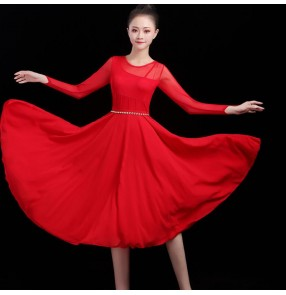 Women's red royal blue modern dance ballet dresses stage performance chinese style traditional classical dance dress
