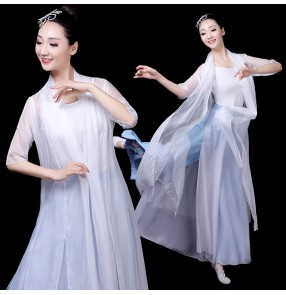 Women's chinese folk dance dress hanfu fairy cosplay dress traditional classical dance dresses stage performance costumes dresses