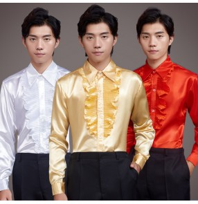 Men's satin singers host stage performance shirts groomsman drama cosplay male model show performing tops
