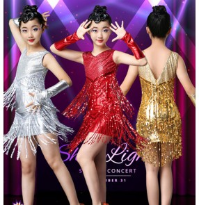 Girls kids sequin fringes latin dance dresses red gold silver salsa rumba chacha latin dance dress costumes