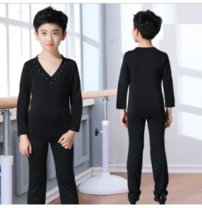 Boy's kids  latin dance shirts and pants latin dance costumes competition stage performance ballroom salsa chacha dance tops and pants