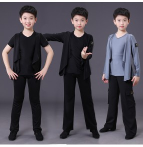 Boy's kids grey black latin dance costumes shirts and pants salsa rumba ballroom chacha dance shirts and pants