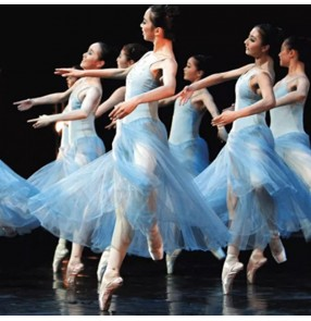Women's light blue modern dance ballet dress stage performance long length ballet dance dress costumes