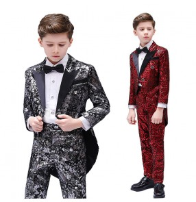 Boy kids red gold leopard  jazz dance costumes host singers recital model show performance costumes blazers shirt and pants