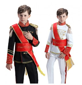 Boy kids black white military European Palace drama honor guard march stage performance cosplay uniforms
