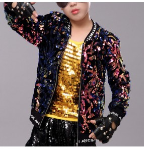 Boy sequin bling jazz dance jacket kids hiphop rap dance coats modern dance gogo dancers drummer model performance coats