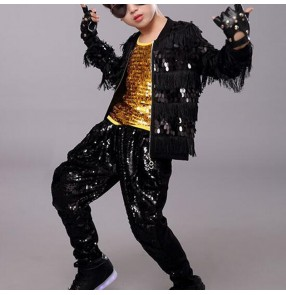 Boy kids black sequin hiphop jazz dance costumes street dance rap dummer model show performance jacket and pants