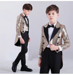 Boy gold sequin jazz dance costumes kids modern dance host drummer singers model show performane tuxedo coats and pants