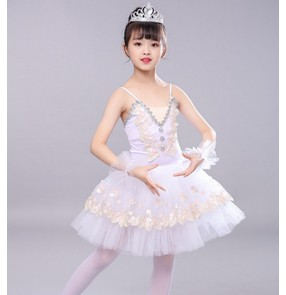 Kids white pink little swan lake ballet dress kindergarten tutu skirt modern dance ballerina dress stage performance ballet costumes