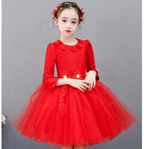 Girls kids princess jazz dance dress host chorus singers flower girls dress school competition piano performance dresses