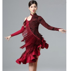 Women's wine gold tassels latin dance dress stage performance salsa rumba chacha dance dress costumes