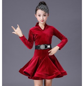 Girls kids wine dark green velvet striped competition latin dance dreses stage performance salsa chacha dance dresses